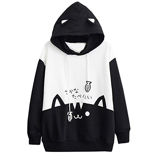 CUCUHAM Womens Casual Long Sleeve Kitty Cat Print Pocket Thin Hoodie Blouse Top -