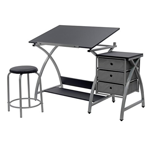 STUDIO DESIGNS Comet Center with Stool Silver / Black 13325 - Flat Top Home Office Desk