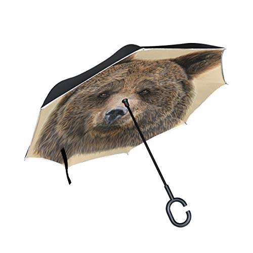 Double Layer Inverted Umbrella Cars Reverse Umbrella with C-Shaped Handle - The Heads of an Brown Bear Sturdy Windproof and UV Protection Compact Travel Umbrella for Women Men (To Stand Alternative Umbrella)