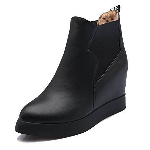 High Toe Ankle Round Black Soft high Solid Closed Women's Boots WeiPoot Material Heels cBOXWnwzTx