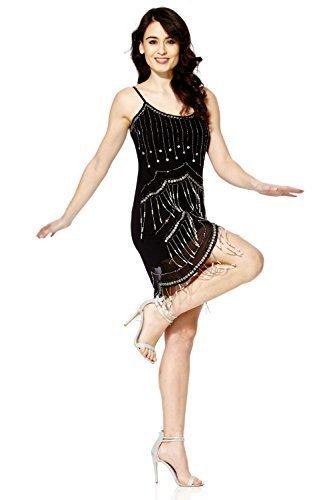 Vestido vintage para mujer, estilo años 20, con flecos, perlas y lentejuelas negro