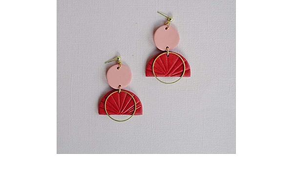 beige and white earrings birthday gift earrings one-off earrings Polymer clay earrings leaf-shaped earrings polymer clay jewellery red