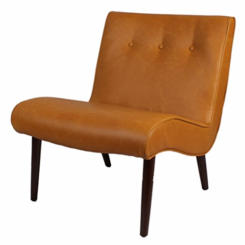 Chair Heights Leather Pacific (New Pacific Direct Alexis Tufted Mid Mod Bonded Leather Chair,Brown Legs,Vintage Caramel Brown,Fully Assembled)