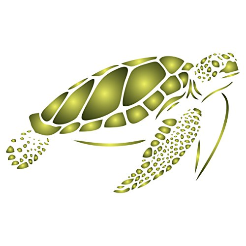 Sea Turtle Stencil - 10 x 6 inch (L) - Reusable Sea Ocean Nautical Seashore Reef Stencils for Painting - Use on Paper Projects Walls Floors Fabric Furniture Glass Wood (Turtle Stencil)