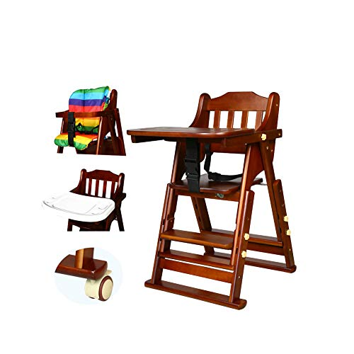 Frjjthchy Multifunctional High Chair Wooden Adjustable Foldable Baby Dining Chair for Your Infants Toddlers (S, Coffee) ()