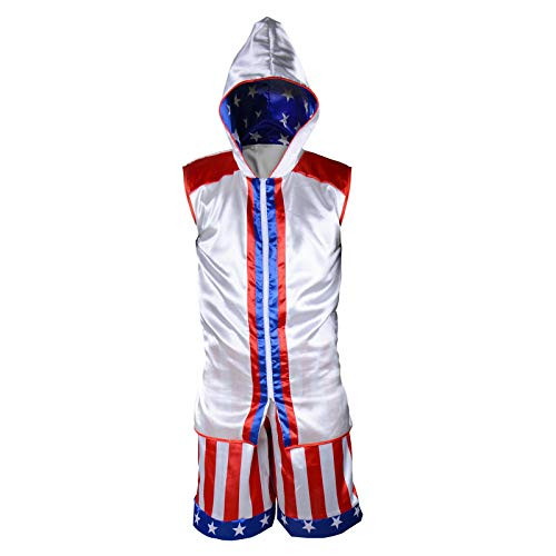 Classic Movie Boxing Costumes Sleeveless Zip-up Vest Tank Hoodies Jacket Apollo American Flag Shorts Trunks Suits Men/Boys (Tops+Shorts, Kids-M)