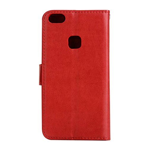 Wkae Detachable 2 in 1 Crazy Horse Texture PU Leather Case, Fairy Girl Embossed Pattern Flip Stand Case Pouch Cover with Lanyard & Card Cash Slots for Huawei P10 Lite (Color : Rosegold) Red
