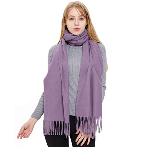 Cashmere Scarf and Shawl, Vimate Novelty Cashmere Pashmina Scarf and Wraps for Women/Girls/Men (Light Grey)