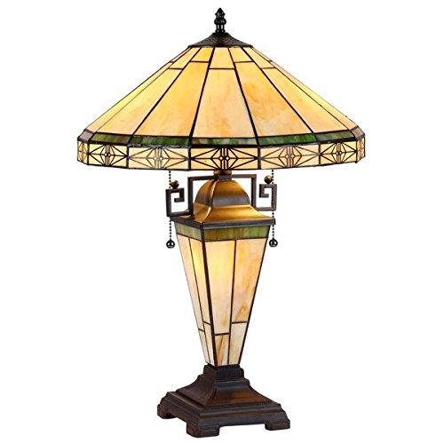 Chloe 1 Light Chandeliers - Chloe Tiffany Style Mission Design 2+1-light Blackish Bronze Table Lamp