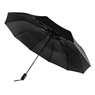 Saiveina Umbrella,Travel Umbrella 10 Ribs 210T Folding Waterproof & Windproof Umbrellas Women and Men Auto Open Close Umbrella (Black)