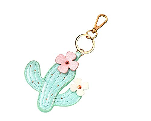 - Joinor Cactus Flowers Style PU Leather Keychains Key Rings Hang Bag Accessories Key Pendants