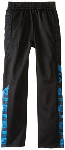 Athletic Boys Pants (STX Big Boys' Tricot Pull On Sport Pant, TC21-Black/Stripe Neon Turquoise,)