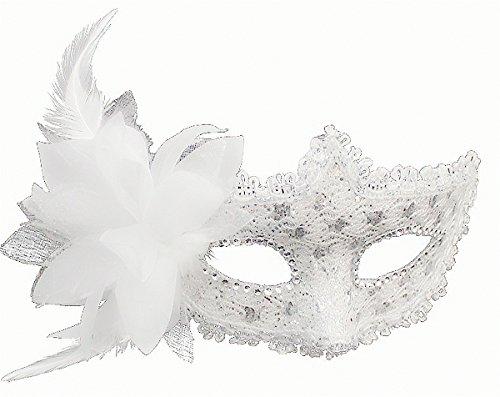 [Cozypony Venetian Style Lace with Rhinestone Liles Costume Masquerade Mardi Mask for Halloween,Dance Performance,Party,Mardi Gras or Prom Masks (One Size,] (White Mardi Gras Mask)