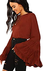 Floerns Women's Casual Ruffle Bell Sleeve Loose Blouse Shirt