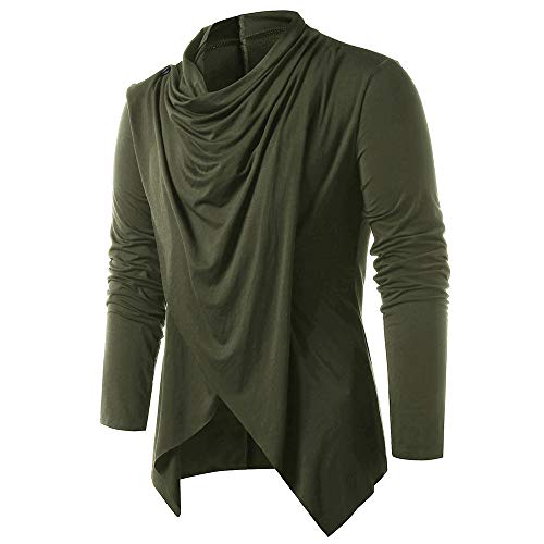 EXCOO Asymmetrical Overlap Asymmetrical Cardigan Army, used for sale  Delivered anywhere in USA