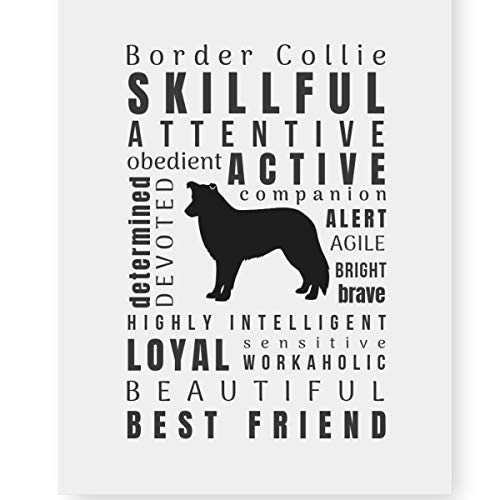 Print Collie Dog - Border Collie Gifts Art Quote Typography Print 'Pet Personality' Home Decor (8.5x11 Unframed) Perfect Dog Lovers Gift for Border Collie Mom
