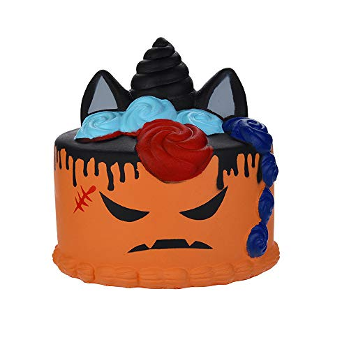 callm Soft Stress Reliever Toys,Squishy Halloween Demon Cake Scented Charm Slow Rising Squeeze Squishies Toys Cure Fun Gifts Decor for Kids Adults (Orange)