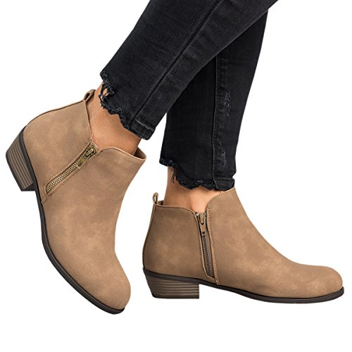 Low Heel Block Womens Booties Shoes Casual 5 Ferbia Ankle Western Hollow khaki Black Boots Fall Out YRSwR