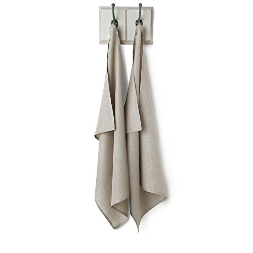 Solino Home Linen Kitchen Towel - 100% Pure Linen 17 x 26 Inch - Natural Fabric Handcrafted, Natural by Solino Home