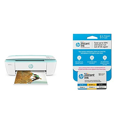 HP DeskJet 3755 Compact All-in-One Wireless Printer with Mobile Printing, Instant Ink Ready - Seagrass Accent with Instant Ink Prepaid Card for 50 100 300 Page per Month Plans (3HZ65AN) by HP