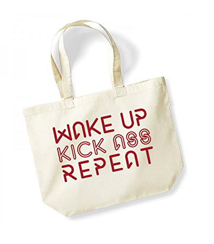 Wake Up, Kiss Ass, Repeat - Large Canvas Fun Slogan Tote Bag Natural/Red