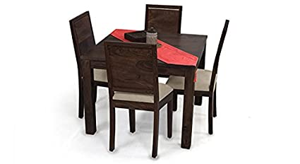 Urban Ladder Arabia Square - Oribi Four Seater Solid Wood Dining Table Set (Mahogany Finish, Wheat Brown)
