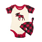 Little Blue House by Hatley Baby Boys' Bodysuit and Cap, Plaid Moose, 3-6 Months