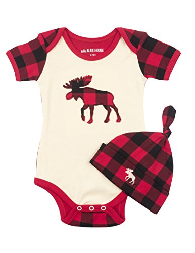 Little Blue House by Hatley Baby Boys' Bodysuit & Cap, Plaid Moose, 3-6 Months