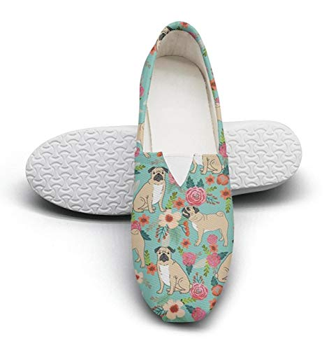 Women's Cotton Espadrille Pet Dog Pugs And Beautiful Florals Flat Shoes for $<!--$43.50-->