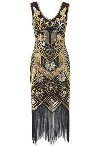 Radtengle 1920s Flapper Gatsby Costume Dress Roaring 20s V-Neck Evening Dress Prom for Women Black Gold
