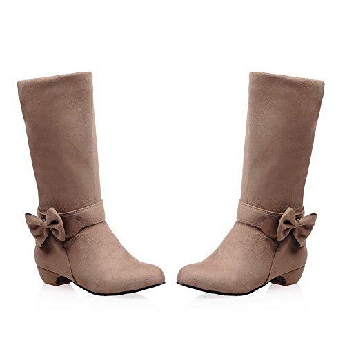 Allhqfashion Mujer Pull On Low Heels Imitated Gamuza Sólido Redondo Cerrado Botas De Punta Albaricoque