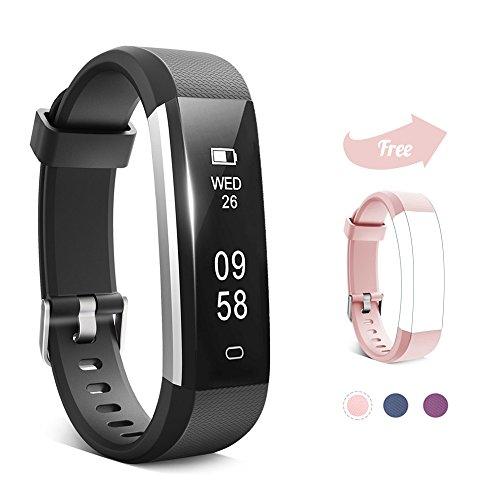Keyney Fitness Tracker,Waterproof Activity Tracker with Sleep Monitor and Pedometer Step Counter Watch,Smart Bracelet Bluetooth Wireless Wristband Smartwatch for Kids Women Men (Black+Pink Band)