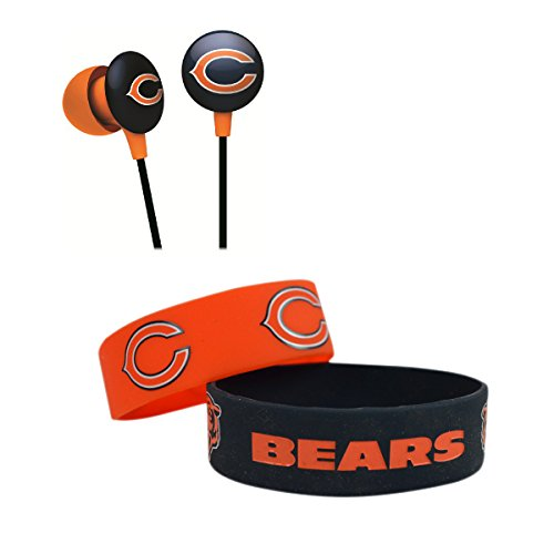 Official National Football League Fan Shop Authentic NFL Earbud Headphones and 2-pack Silicone Rubber Team Wristband Bundle Set (Chicago Bears) - 2 Pack Team Wristband