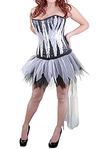 Rimi Hanger Womens 6 Layers Long Tail Black & White Petal Zombie Tutu Skirt Bow & Tie One -
