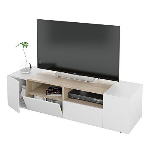 Habitdesign 0F6624A - Mueble de Salon, modulo Comedor Tamiko, Acabado Blanco Artik y Roble Canadian, Medida: 138 cm (Ancho) x 34 cm (Alto) x 40,2 cm (Fondo).