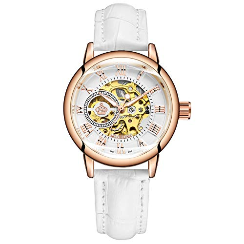 Sweetbless Wristwatch Women's Four-Leaves Skeleton Dial Self-Wind Auto PU Leather Band Watches