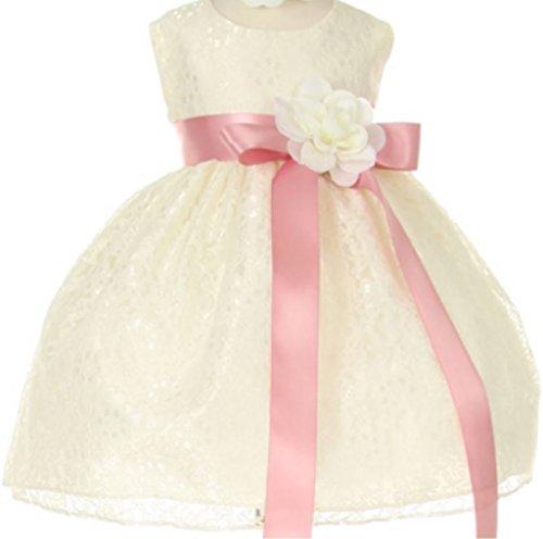 Baby Girls' Ivory Lace Dress Ribbon Sash Flowers Girls Dresses Rose Ivory 18M (C11C32B) - Strapless Sweetheart Sash