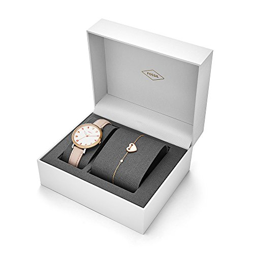Fossil Women's 'Jacqueline' Quartz Stainless Steel and Leather Casual Watch, Color:Rose Gold-Toned (Model: ES4351SET)