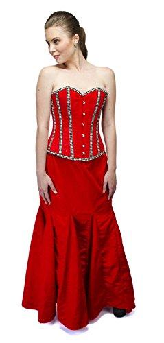 コーン色混乱したRed Velvet Check Stripes Goth Burlesque Waist Cincher Basque Overbust Corset Top