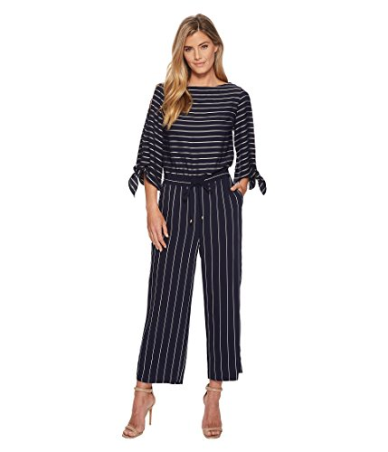 (Lauren Ralph Lauren Women's Striped Satin Jumpsuit Navy/Mascarpone Cream 6)