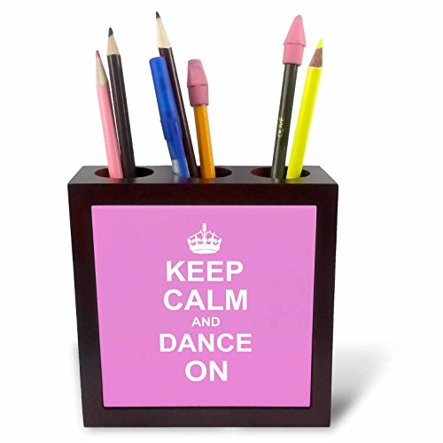 3dRose ph_157705_1 Keep Calm and Dance on Carry on Dancing Gifts for Dancers Girly Pink Fun Funny Humor Humorous Tile Pen Holder, 5'' by 3dRose (Image #1)