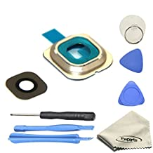 Ewparts Back Rear Camera Glass Lens Cover Ring Repair Replacement + Adhesive for Samsung Galaxy S6 Edge (All Carriers)+opening Tools (Gold)