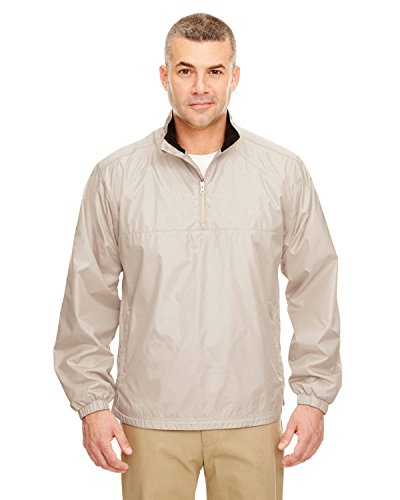 8936 UltraClub Adult Micro-Poly 1/4-Zip Windshirt (Sand) (L)