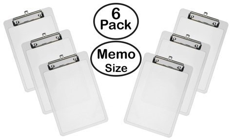 Acrimet Clipboard Memo Size Low Profile Clip Crystal Color (Pack - 6)
