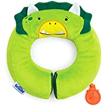 Trunki Kid's Travel Neck Pillow with Magnetic Child's Chin Support - Yondi SMALL Dudly Dinosaur (Green)