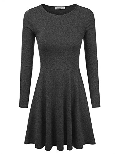 [Doublju Stretchy Knit Flared Skater Dress (Made In USA / Plus size available) CHARCOAL SMALL] (Cheap Plus Size Fancy Dress)