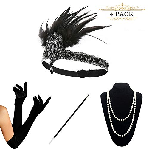 HAMIST 1920s Accessories Set Flapper Costume for Women Headband Gloves Cigarette Holder Necklace (S4-5877) -