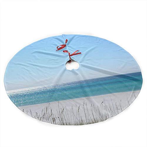 Xmastgdw82 Panama City Florida Beach Christmas Tree Skirt,Traditional Christmas Tree Mat Double Layers for Xmas Party Decoration