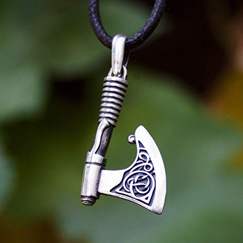 Viking Axe Hatchet Necklace /100% Sterling Silver 925/ Thors Hammer Mjolnir with Celtic Knot Pendant/Pagan Norse Nordic Scandinavian Jewelry for Men/Free Cord/Handmade 925 Silver Celtic Knot