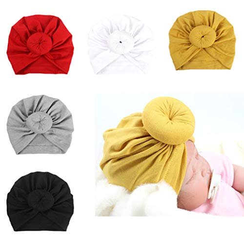 DANMY Baby Girl Hat with Rabbit Ears Toddlers Soft Turban Knot Bow Cap (Donut hat (5pcs))